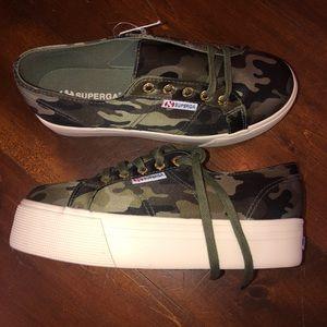 Brand new Superga camouflage platform sneakers.